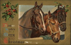 Best Wishes for a Merry Christmas - Three Horses and Holly