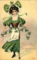 Woman Dressed in Green Holding a Garland of Shamrocks