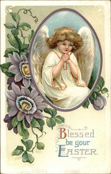 Flowers and Easter Angel with Hands Clasped Together