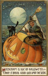 Witch Riding Pumpkin Sailboat with Black Cat at Night