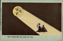 The Moon Has His Eyes on You.- Couple Sitting Under Moon