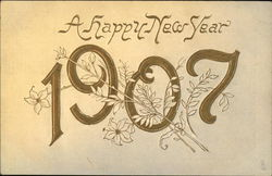 New Year 1907 with Gold Lettering