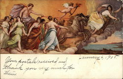 Angel on Chariot Lead by Two Horses and Surrounded by More Angels