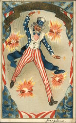 Uncle Sam Throwing Fire Crackers