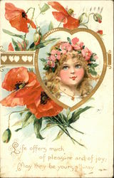 GIrl in Heart Frame with Poppies