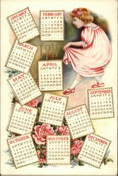 Young girl standing among pages from a calendar.