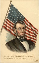 Abraham Lincoln in Front of American Flag