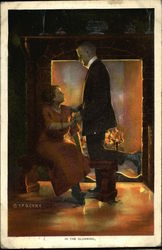 Woman and Man Hold Hands in the Dark in Front of a Fireplace