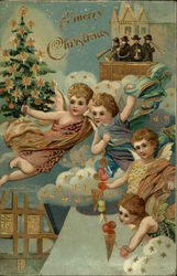 Angels with Garland and Christmas Tree, Men Playing Horns