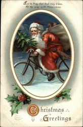 Christmas Greetings - Santa on Bicycle