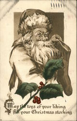 B&W Santa Holding Sock with Colored Holly