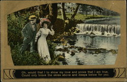 Man and Woman Alongside a Waterfall