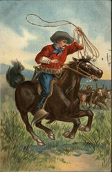 Man with lasso on horse