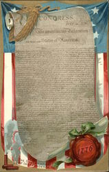 Declaration of Independence on Scroll, Flag Backdrop