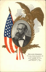 Portrait of Benjamin Harrison with Eagle and Flag