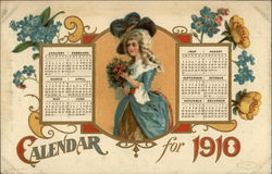 Calendar for 1910 with Woman Carrying Flowers