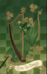 """Erin Go Bragh""- Harp with Green and Gold Clovers, Flag Postcard"