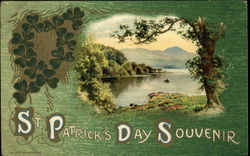 St Patrick's Day Souvenir - 3-leaf Clovers and Scenic Postcard