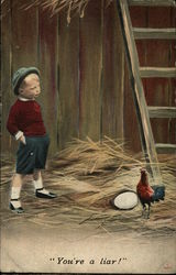 Boy in Barn with Chicken and Large Egg