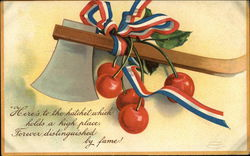Hatchet with Cherries and Patriotic Ribbon