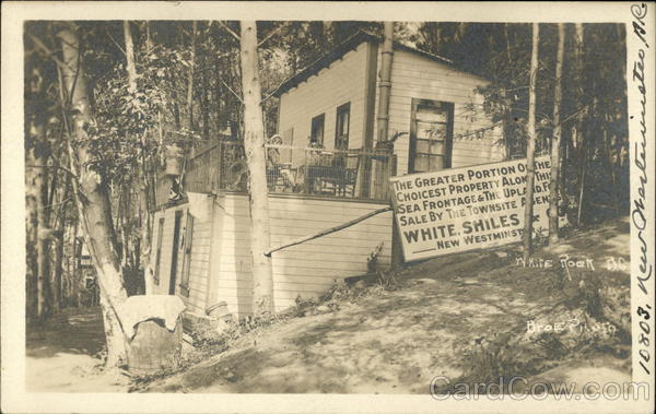 Cabin in the Woods with Real Estate Sign - White, Shiles & Co. White Rock Canada