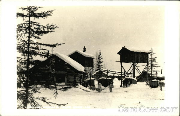 Dogs by a Snow Covered Cabin