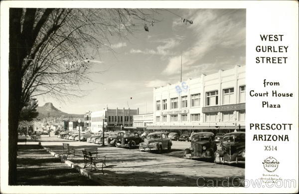 View of West Gurley Street from Court House Plaza Prescott Arizona