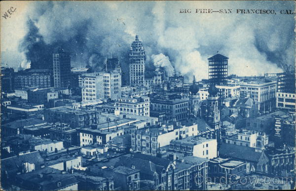 View of City and Fire San Francisco California Cyanotypes