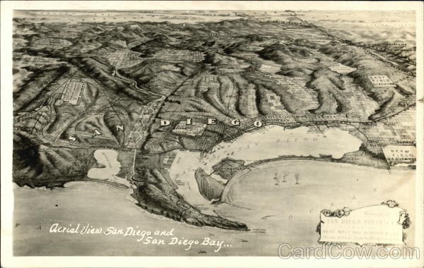 Aerial View of Town and Bay San Diego California