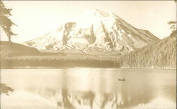 Lake and Boat in front of Mt. St. Helens