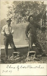 Two Men Fishing on the Shore of Lake Wenatchee Postcard