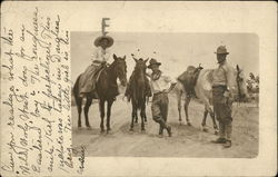 Two Men with Horses and Woman on Horseback Postcard