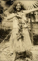 Rare- Hawaiian Woman Wearing Hula Skirt and Lei