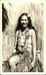 Hula Girl with Grass Skirt and Lei
