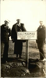 Navy Sailors on top of Halemaumau with Marker