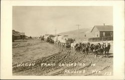 Wagon Train Arriving in Rawlins, Wyo.