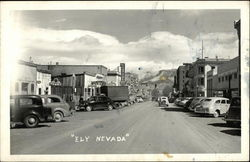 Main Street Scene with Cars Postcard
