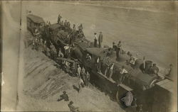 Workers Posing on Crashed Trains 1910