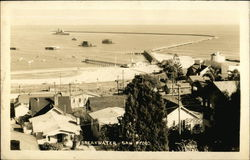 Aerial View - Breakwater and Town Postcard