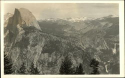 Half Dome and Mountain Ridge with Snow, Yosemite