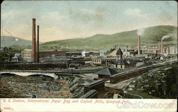 R.R. Station, International Paper Bag and Oxford Mills Rumford Falls Maine