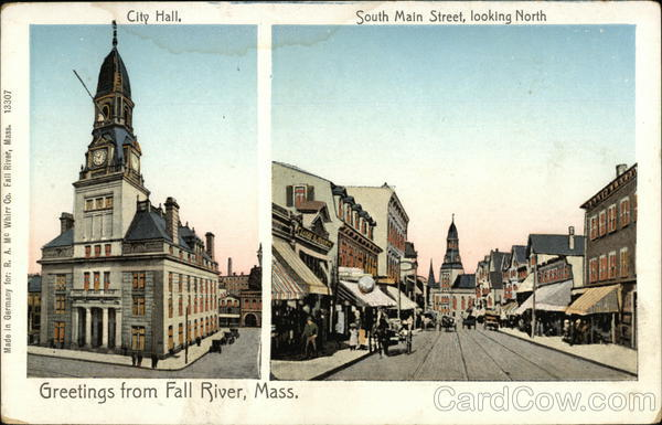 City Hall, South Main Street, looking North Fall River Massachusetts