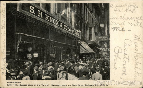 S.H. Knox & Co - Everyday scene on State Street Chicago Illinois