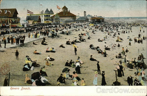 Crowds on the Beach Revere Beach Massachusetts