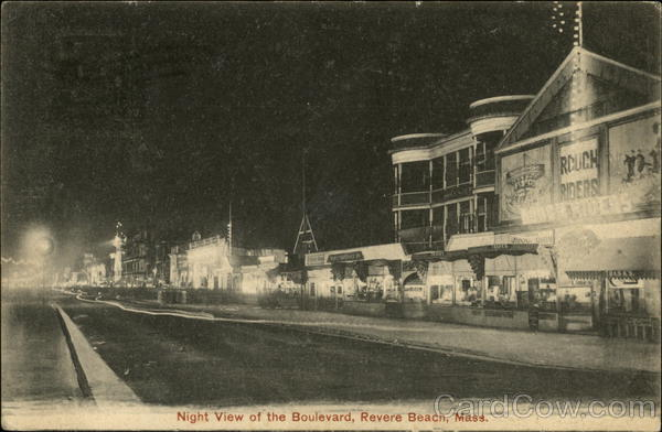Night View of the Boulevard Revere Beach Massachusetts