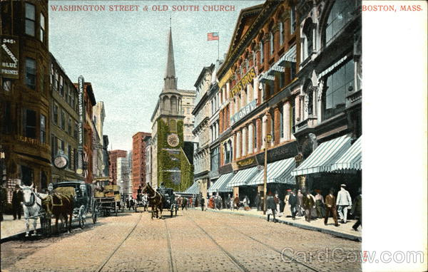 Washington Street & Old South Church Boston Massachusetts