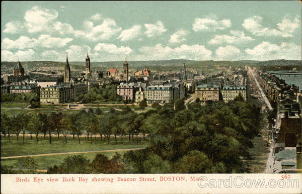Birds Eye view Back Bay showing Beacon Street Boston Massachusetts