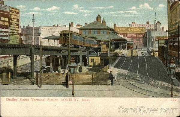 dudley street terminal station roxbury  ma postcard