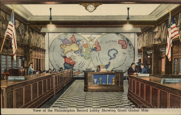 View of the Philadelphia Record Lobby Showing Giant Global Map Pennsylvania