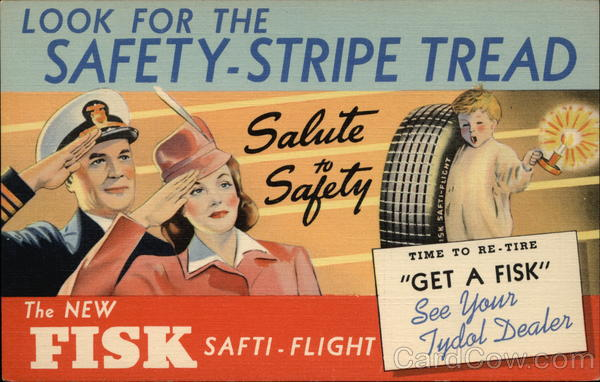 Rare: Look For the Safety-Stripe Tread - Fisk Safti-Flight Tires